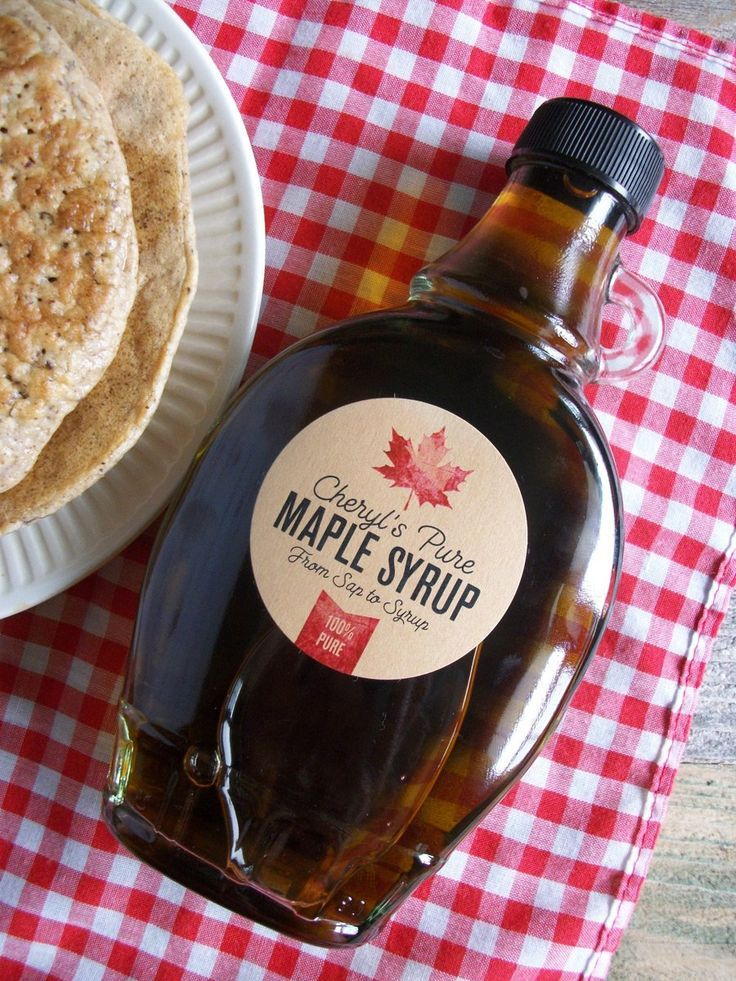 Custom kraft maple syrup bottle labels maple syrup
