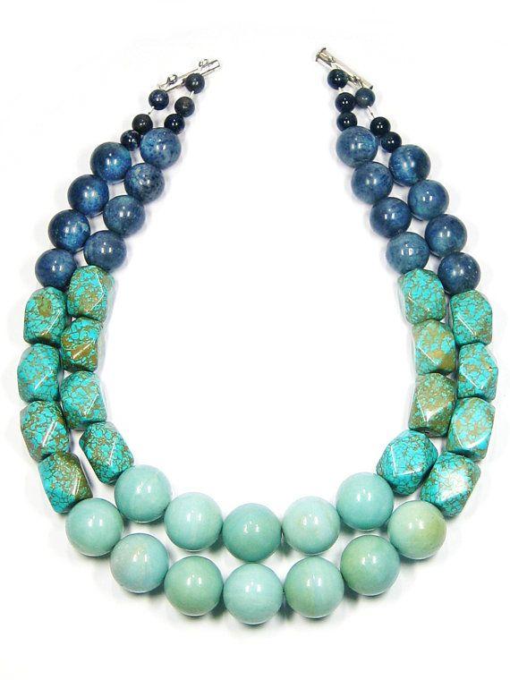 Seagrove Necklace - Amazonite, Magnesite & Blue Coral by JulRe Designs, $80.00