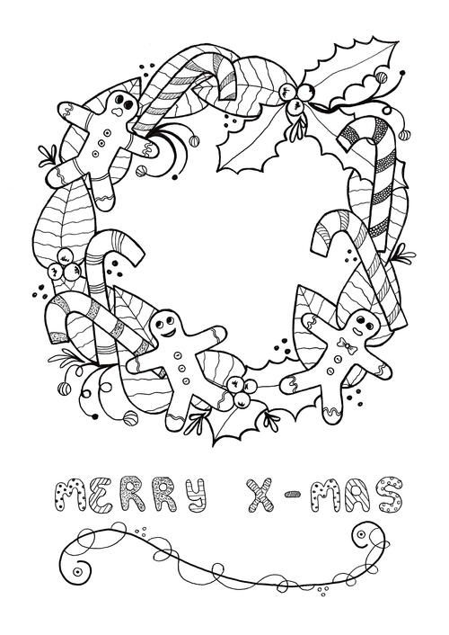 Festive Wreath Adult Christmas Coloring Page | coloring pages ...