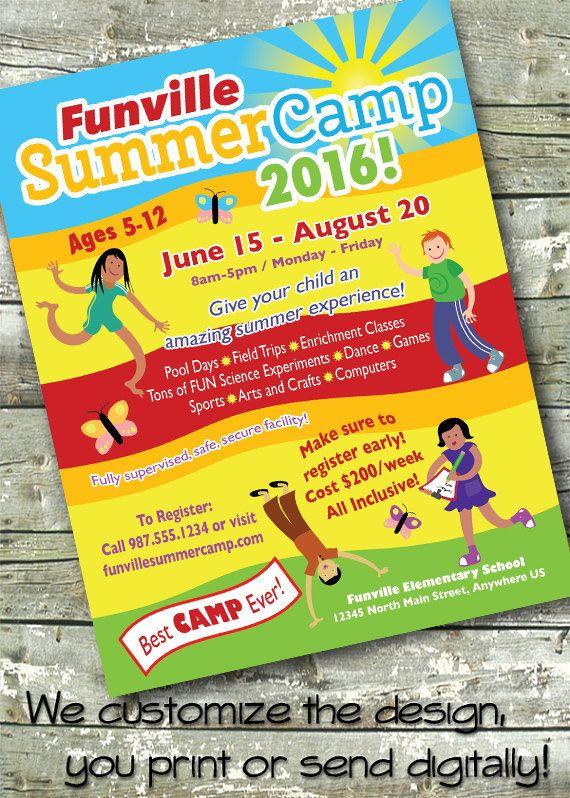 Summer Community Camp ~ Kids Camp ~ Childrenu0027s Day Camp ~ 5x7 - summer camp flyer template