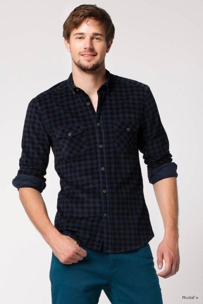 51b42a73524ca Lacivert Erkek Kareli Kadife Gömlek 379879 | DeFacto Erkek Günlük Giyim