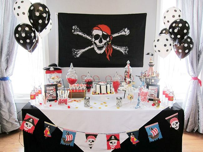 Awesome Pirate Theme Party Decoration Ideas Part - 7: Love These Pirate Party Table Decorations!