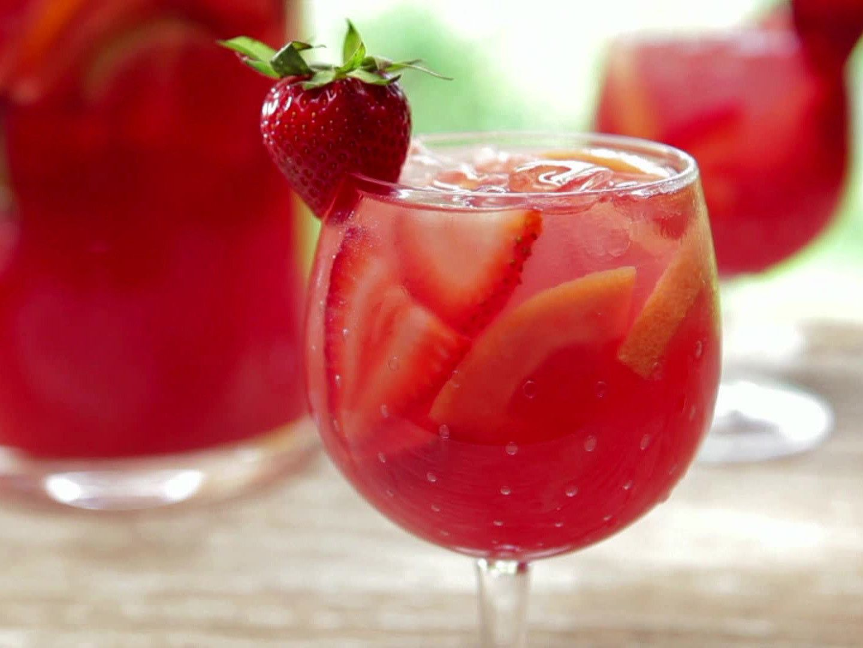 Strawberry Pink Grapefruit Rose Sangria Recipe Food Network Recipes Rose Sangria Strawberry Sangria