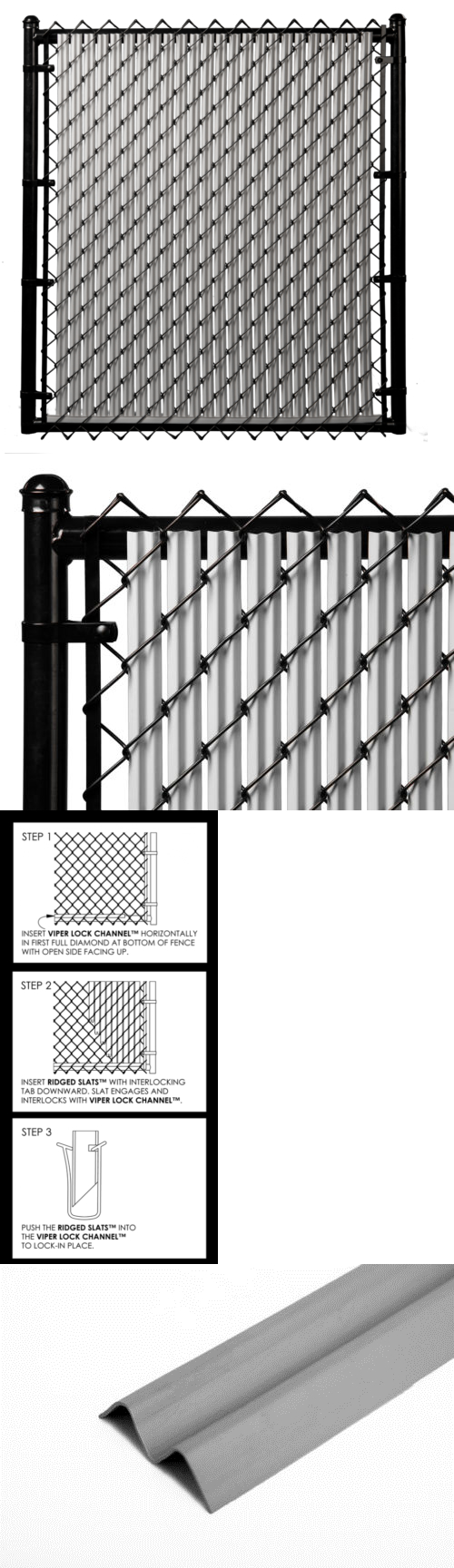 Privacy screen for chain link fence ebay - Chain Link Fencing 180984 Slat Depot Gray 8ft Ridged Slat For Chain Link Fence