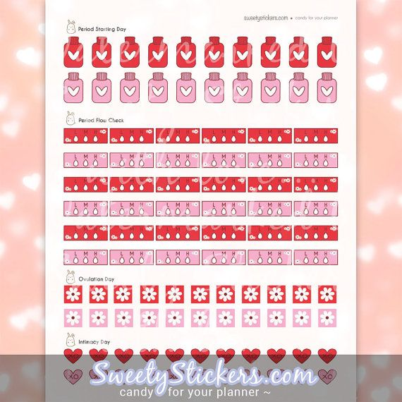 Period Planner Stickers  Printable Planner By Sweetystickers