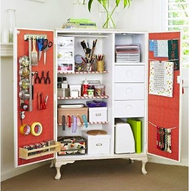 Beau 13 Easy Ways To Repurpose Antique Armoires, Cool Idea For Office Storage