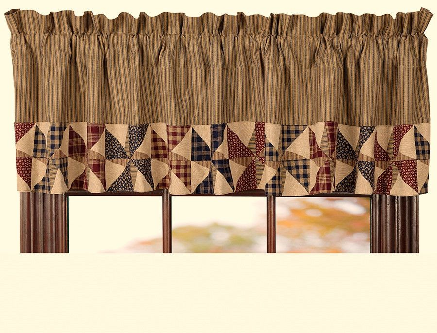 Good Americana Curtains Window Treatments Part - 1: New Country AMERICANA PATCHWORK FLAG PINWHEEL TICKING Curtain Window  Valance #Country
