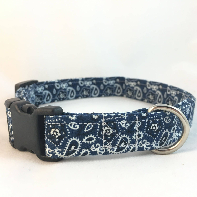 Country Style Blue Paisley Bandanna Print Dog Collar On Hemp Or