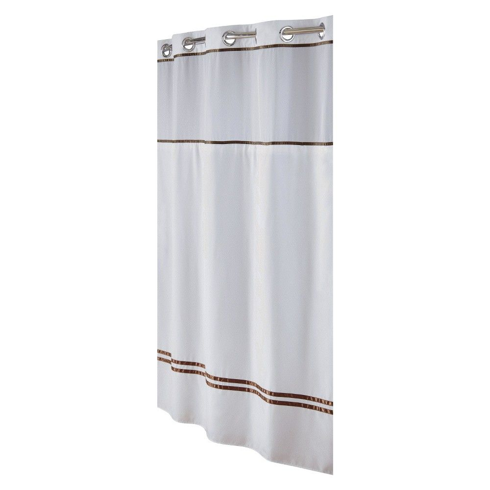 Style selections eva peva print multi fish shower curtain at lowes com - Escape Hookless Shower Curtain White Brown