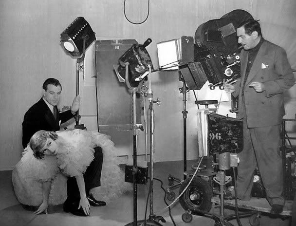 "Claudette Colbert, Gary Cooper and director Ernst Lubitsch ""Bluebeard's Eighth Wife"" 1938."