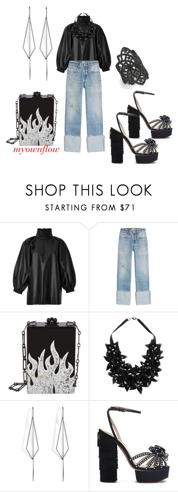 """""""MYOWNFLOW"""" by myownflow ❤ liked on Polyvore featuring Zeynep Arçay, RE/DONE, Stefanel, Diane Kordas, Charlotte Olympia and Noir"""