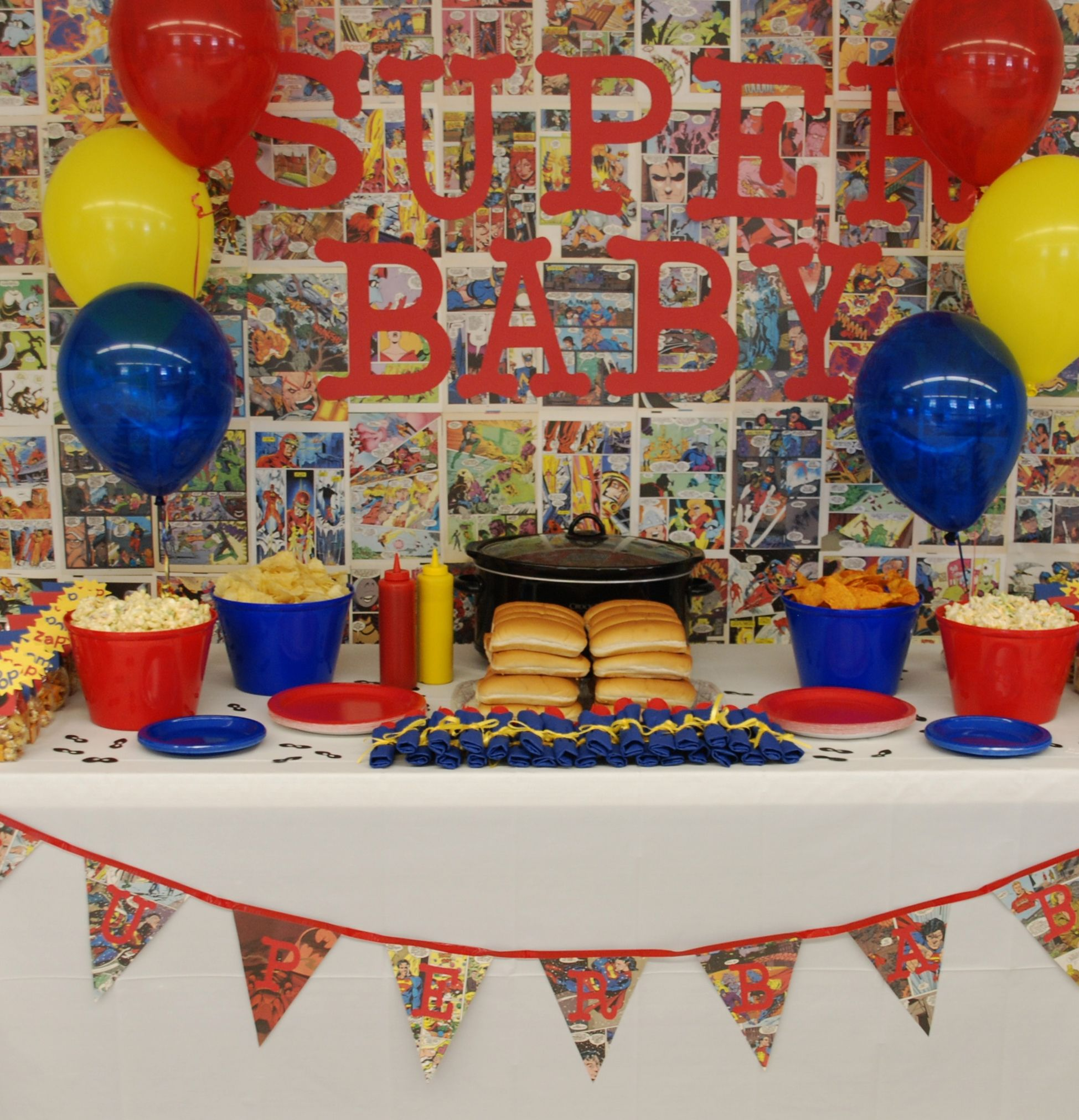 superhero baby shower food table party and shower ideas pinterest