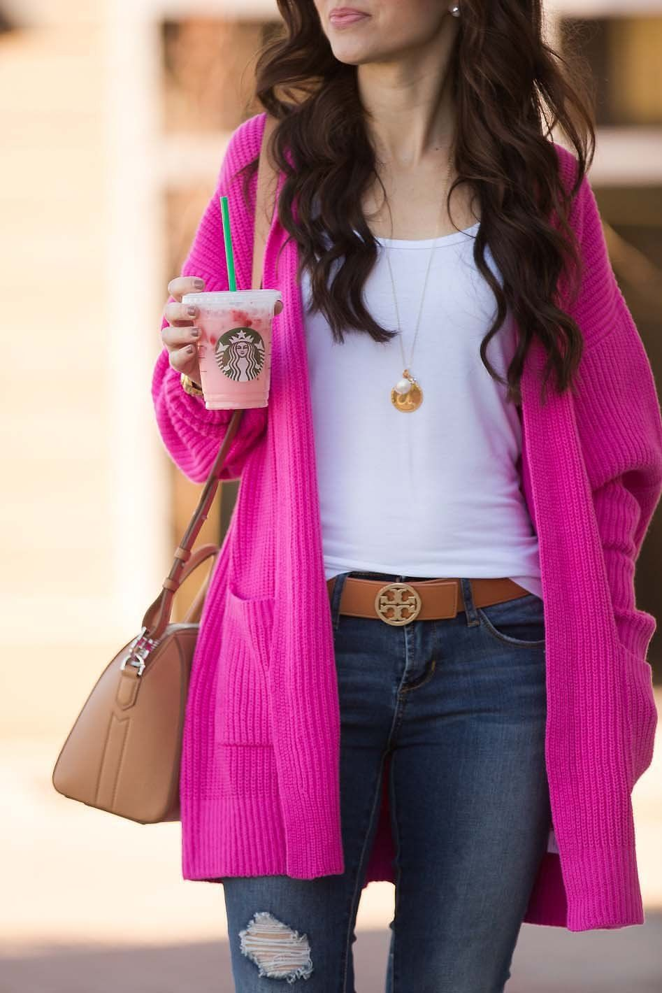 b72d978a3a5 Hot pink long cardigan - tan booties - Tory Burch belt - Givenchy mini  Antigona - Moon   Lola Dalton necklace