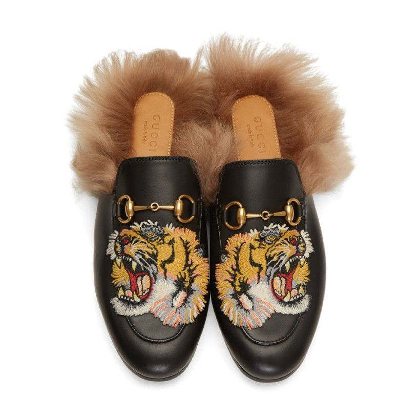 6407acfa150 Gucci - Black Tiger Princetown Slip-On Loafers