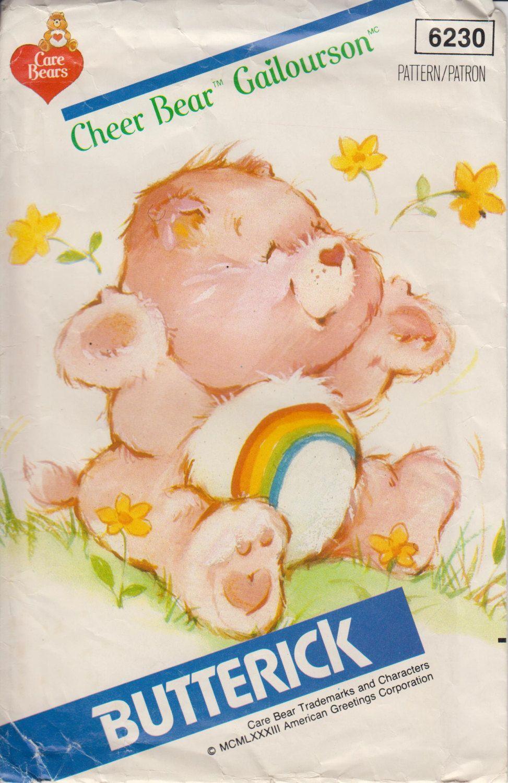 80s Care Bear Cheer Bear Stuffed Animal Sewing Pattern Plush Pink ...
