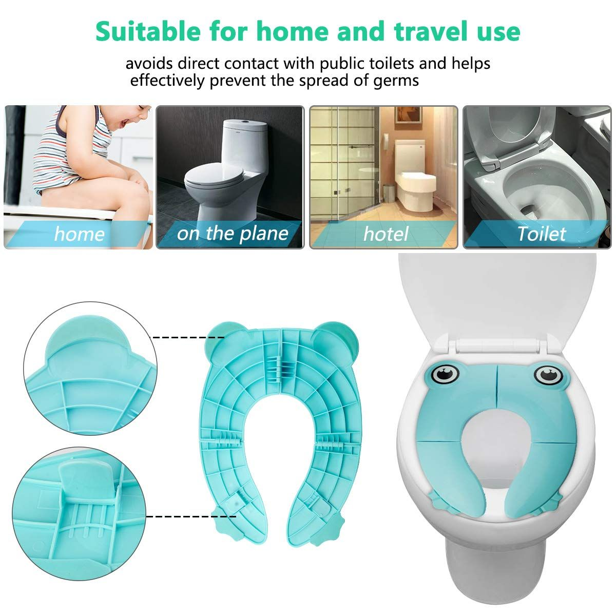 Folding Potty Training Seat For Boys And Girls Non Slip Potty Ring For Round And Oval Toilets Toddlers Toil Travel Potty Seat Travel Potty Potty Training Seats