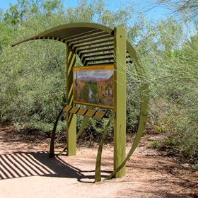 Jrc design curvilinear trailhead trailheads for Garden kiosk designs