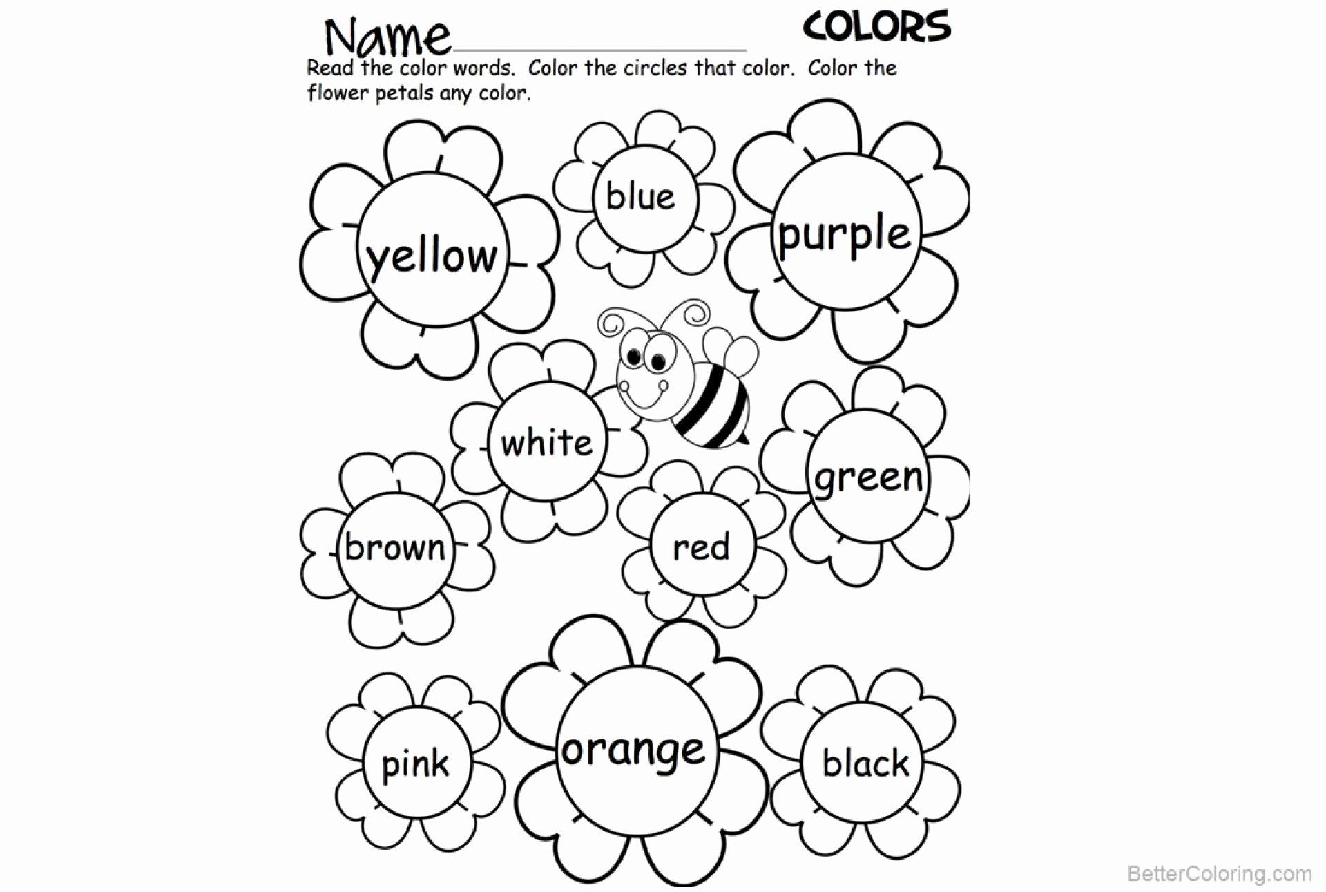 Color Words Coloring Sheet New Awesome Free Printable