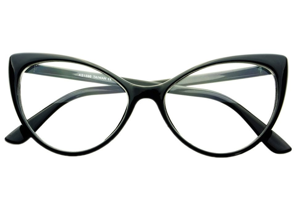clear lens retro large womens cat eye glasses frames black c761