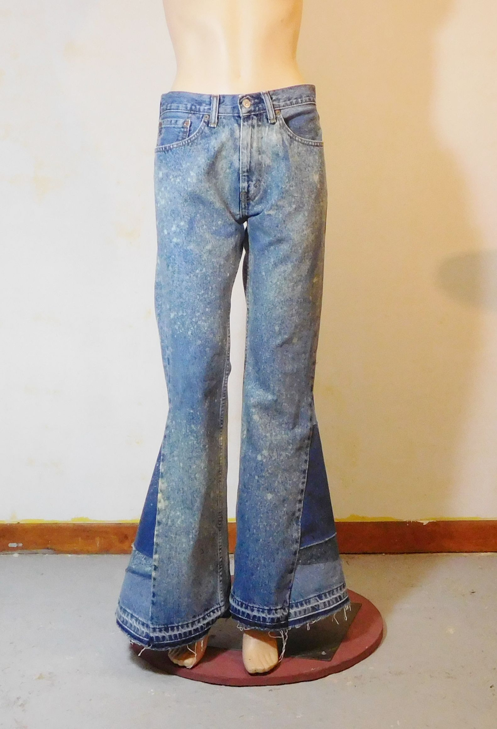 6706433d68e Mens bell bottom jeans, Levi 505. Huge elephant bells. Bleach splattered  and patched