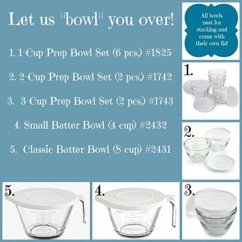 Here are the different glass bowls that PC has to offer. Contact me ...