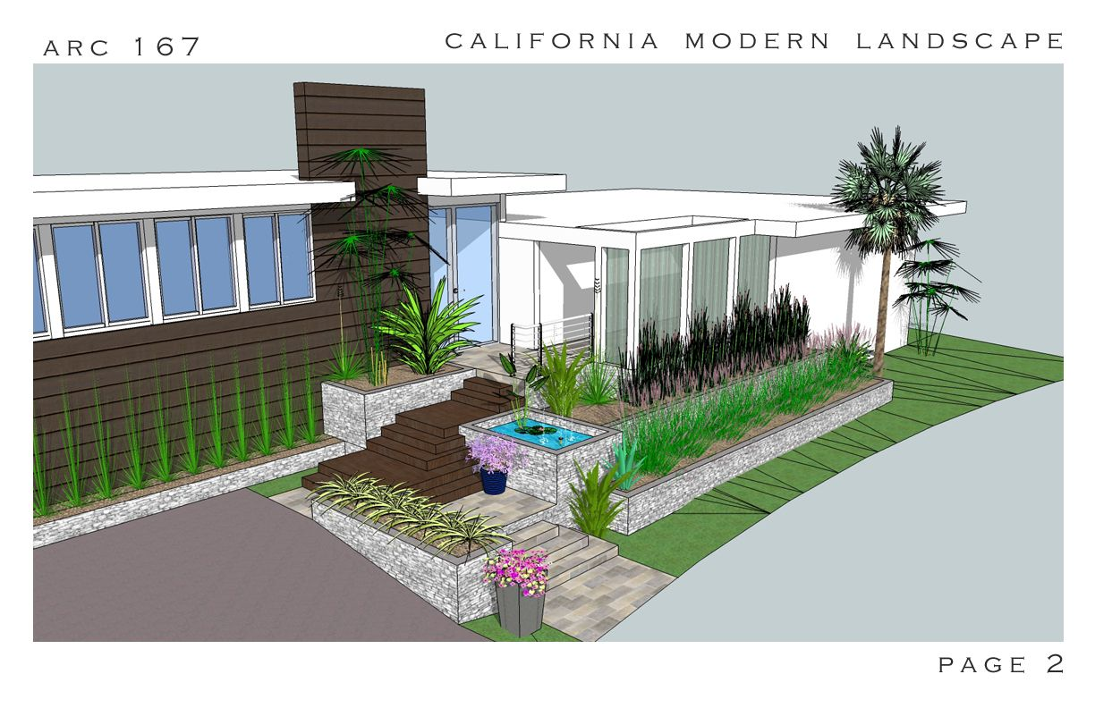 Pix for modern front yard landscape design mid century for Modern landscape design