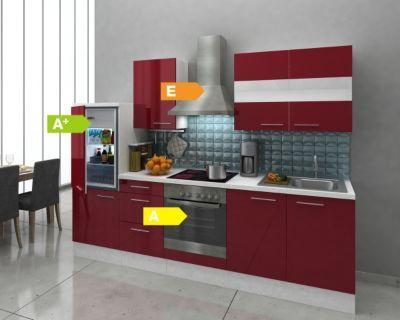 Respekta Premium Küchenzeile RP270WBOC 270 cm Bordeaux-Weiß Jetzt - küche 270 cm