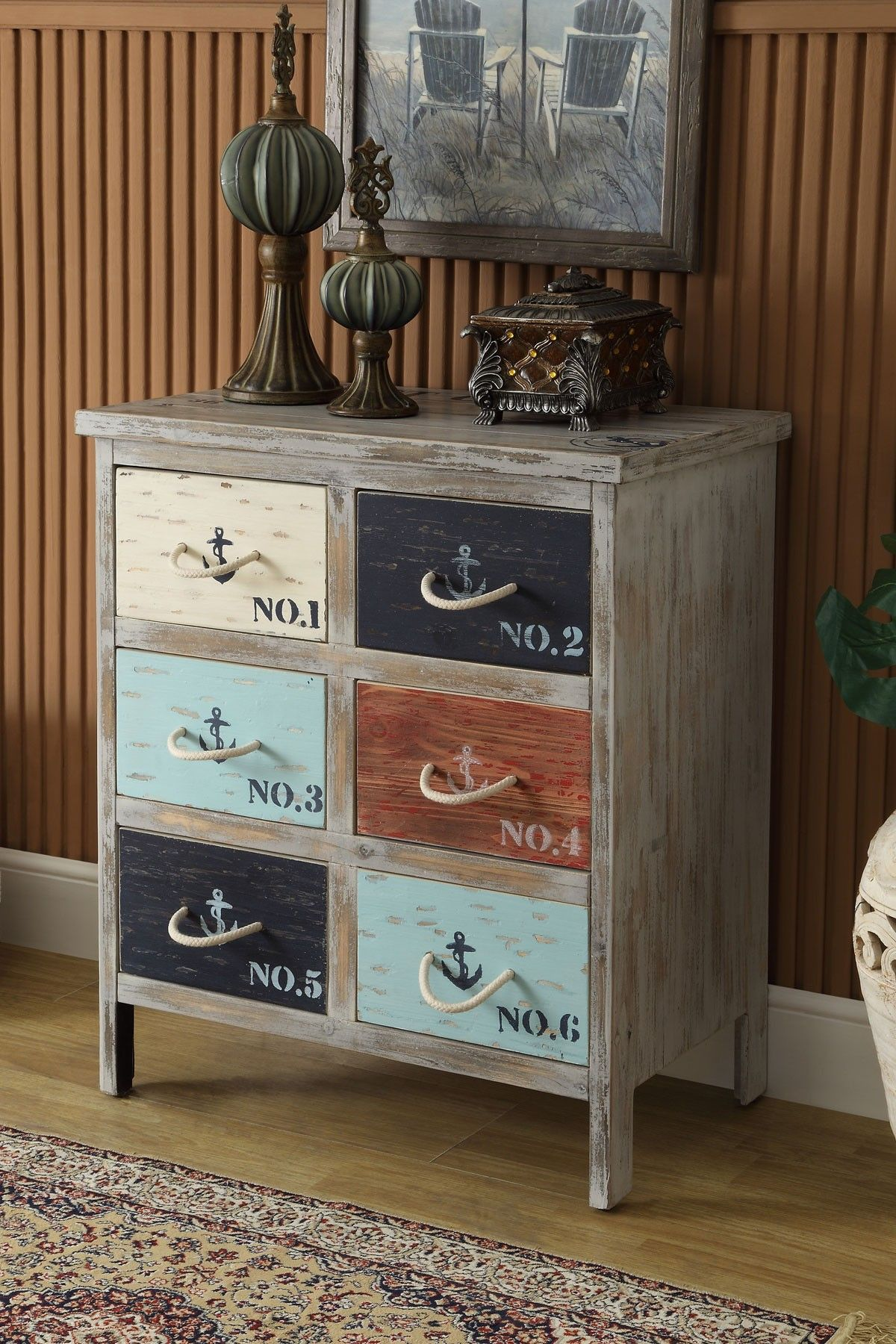 Nautical 6 Bayview Grey Drawer Chest by Coast to Coast on