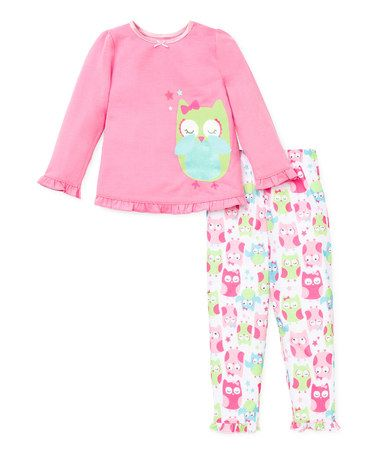 Another great find on #zulily! Pink & Green Owl Pajama Set - Toddler by Little Me #zulilyfinds