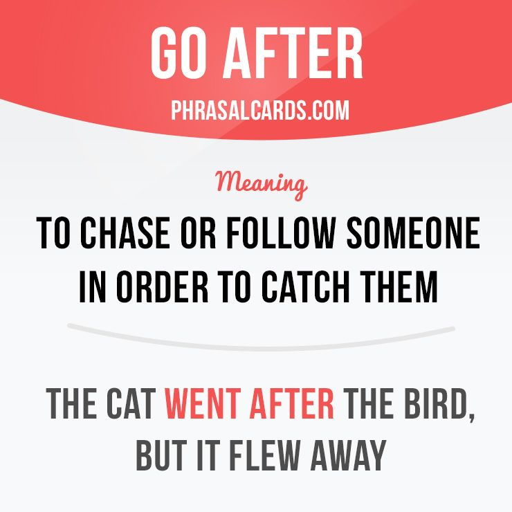 """Go after"" means ""to ​chase or ​follow someone in ​order to ​catch them"".  Example: The cat went after the bird, but it flew away.  #phrasalverb #phrasalverbs #phrasal #verb #verbs #phrase #phrases #expression #expressions #english #englishlanguage #learnenglish #studyenglish #language #vocabulary #dictionary #grammar #efl #esl #tesl #tefl #toefl #ielts #toeic #englishlearning"