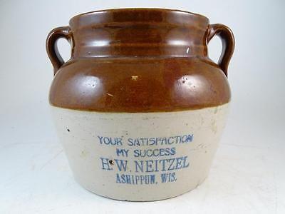 Antique Red Wing Stoneware Bean Pot Crock Ashippun Wi Advertising Vintage Old Red Wing