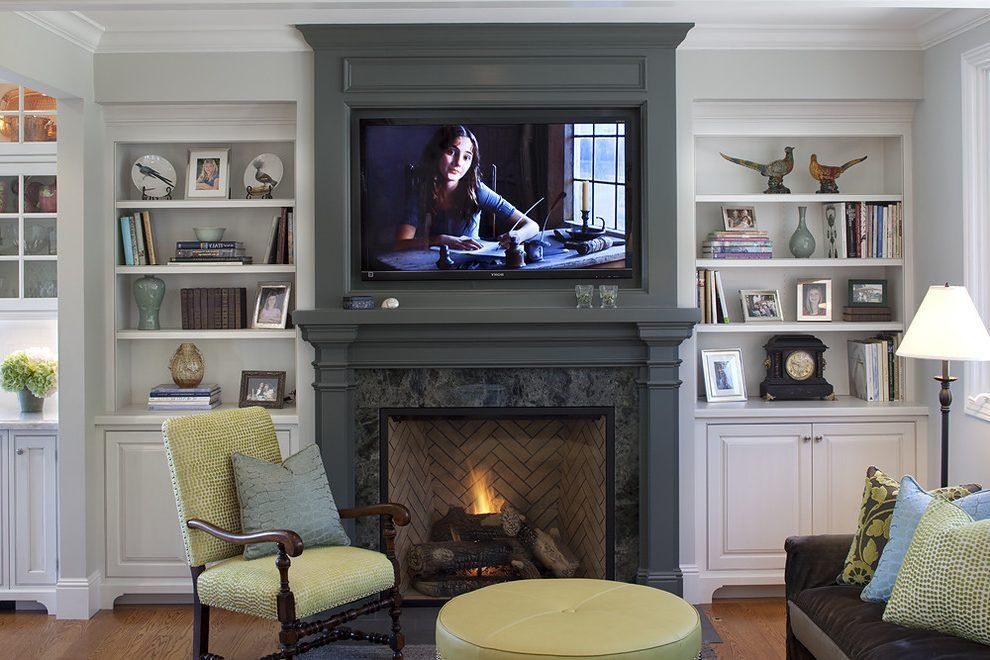 Built In Cabinet Ideas For Family Room Traditional With Green Pouf Wall Mount Tv