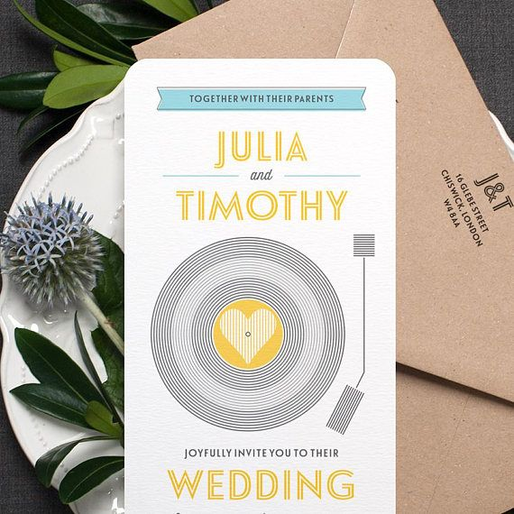 Invitation de mariage rétro / Vinyl Record Musique Thème Mariage Inviter / Yellow Grey Light Blue / Custom Colours Available / ONE SAMPLE