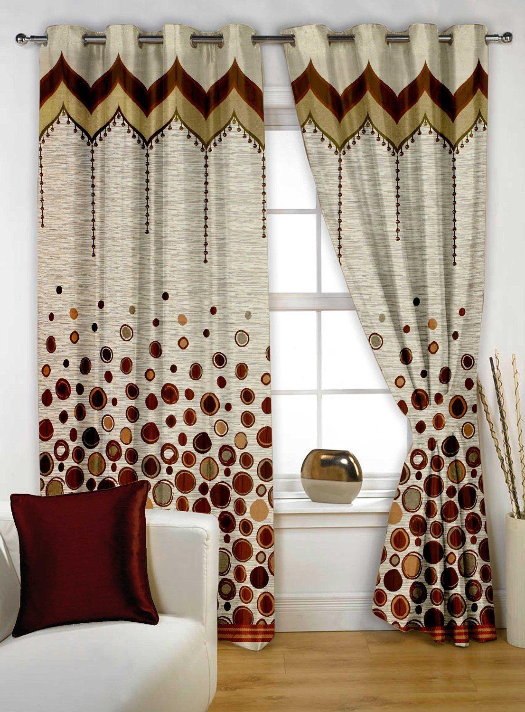"story@home eyelet fancy rintop 1 piece designer 5 feet premium window curtain, 60"" x 48"", brown"