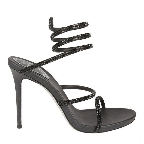 Rene Caovilla Sandals ($455) ❤ liked on Polyvore featuring shoes, sandals, nero, strappy stilettos, strap sandals, stiletto sandals, leather sole shoes and strap shoes