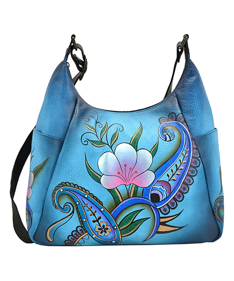 61be06ed51d3 Loving this Anna by Anuschka Denim Paisley Floral Hand-Painted Leather Hobo  on  zulily!  zulilyfinds