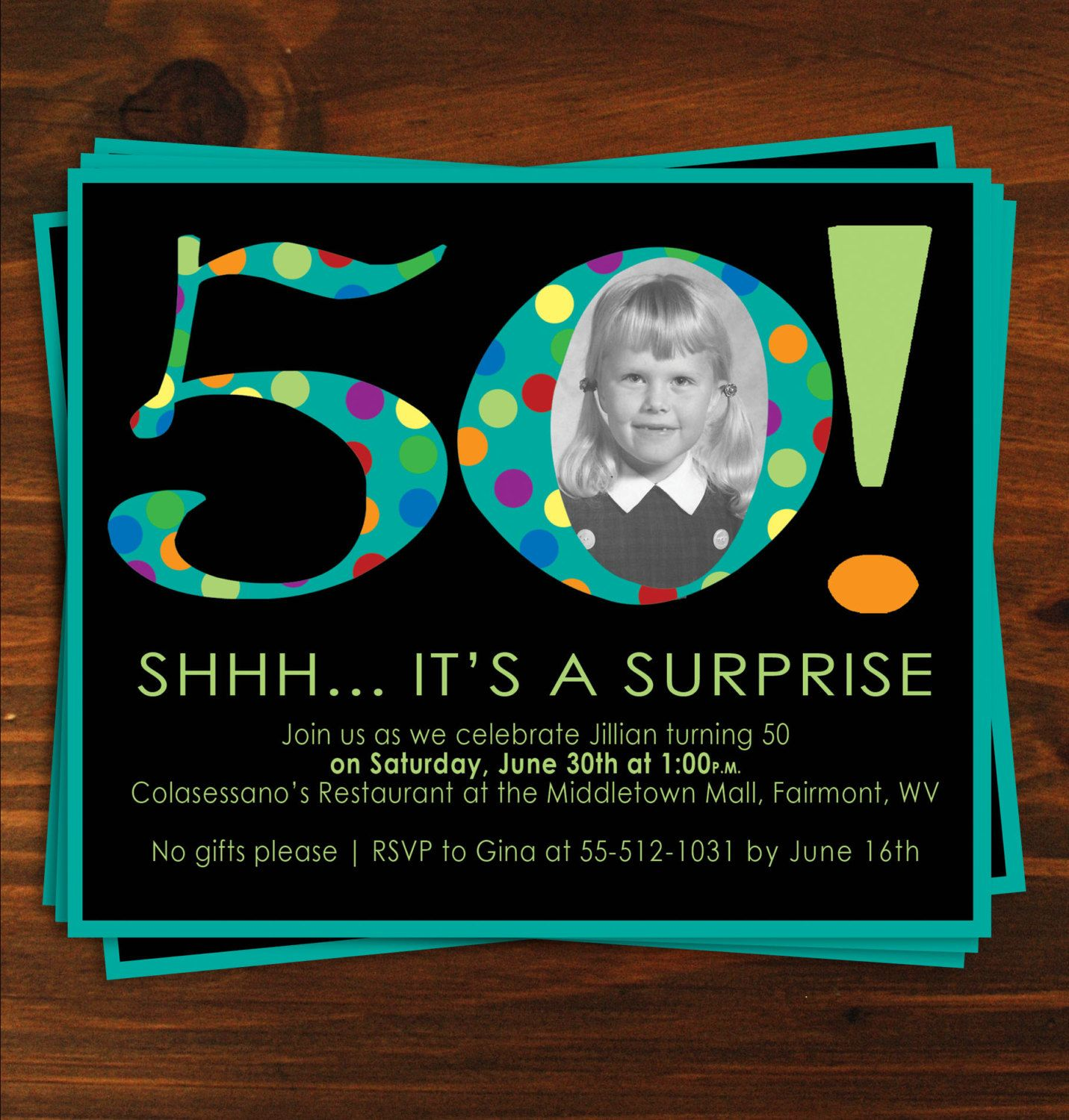 Black and Blue Poka Dot Surprise 50th Birthday Party Invitaion ...