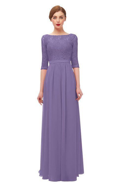 b88d03e402 ColsBM Neriah Lilac Bridesmaid Dresses Lace Antique Zipper Boat Floor  Length Half Length Sleeve