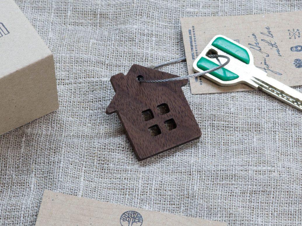 Wood Home Keychain Key Chain Key Fob, Custom Personalized Laser ...