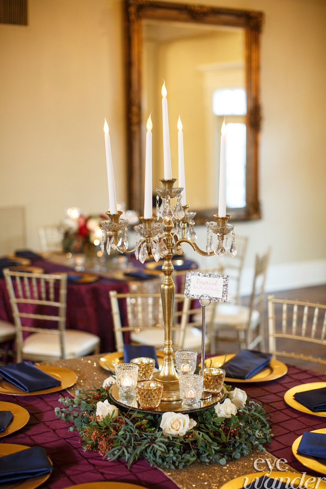 Gorgeous Burgundy Navy Gold Color Scheme For This Reception In