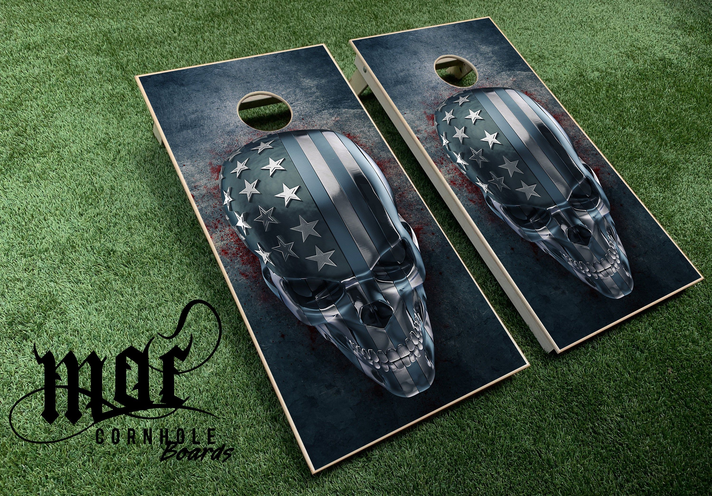 Personalized Skull and Crossbones Cornhole Set With Bags