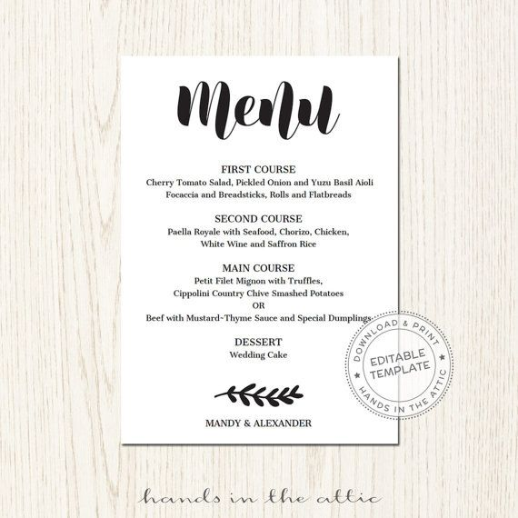 Editable Wedding Menu Template Download Wedding Printables Diy