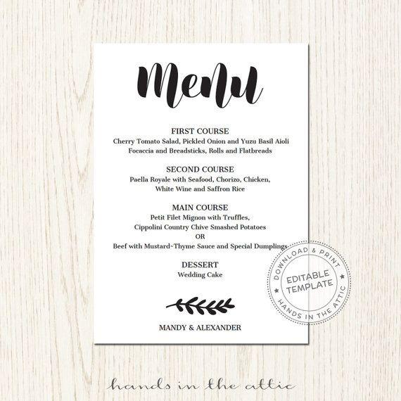 Editable Wedding Menu Template Download Wedding Printables Etsy Printable Menu Template Wedding Menu Template Menu Card Template
