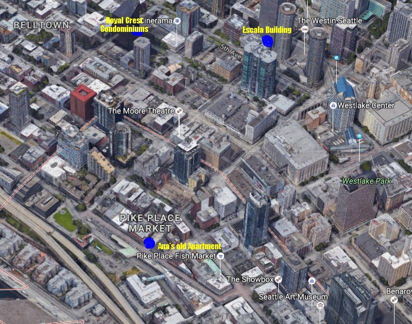MAPS Birdseye view of Seattle