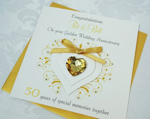 Handmade personalised golden wedding anniversary card th