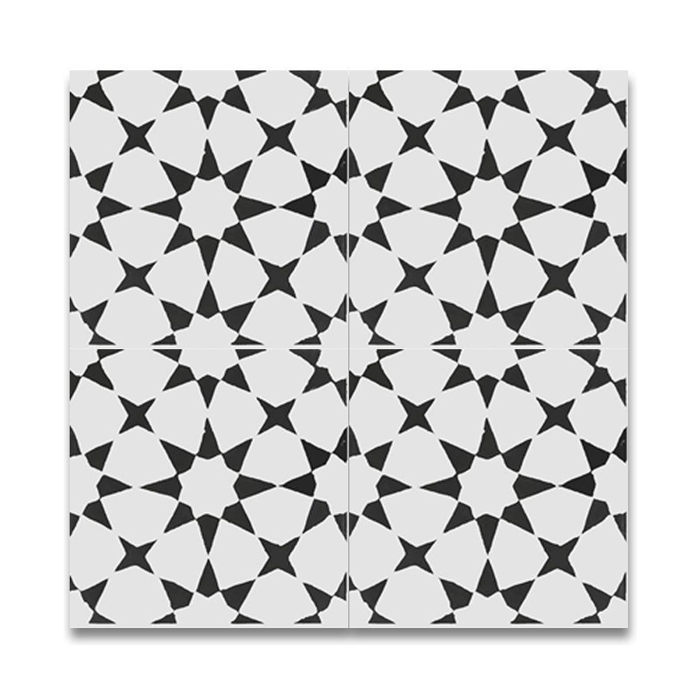 Handmade Medina In Black Tile Pack Of 12 8 X 8 Morocco