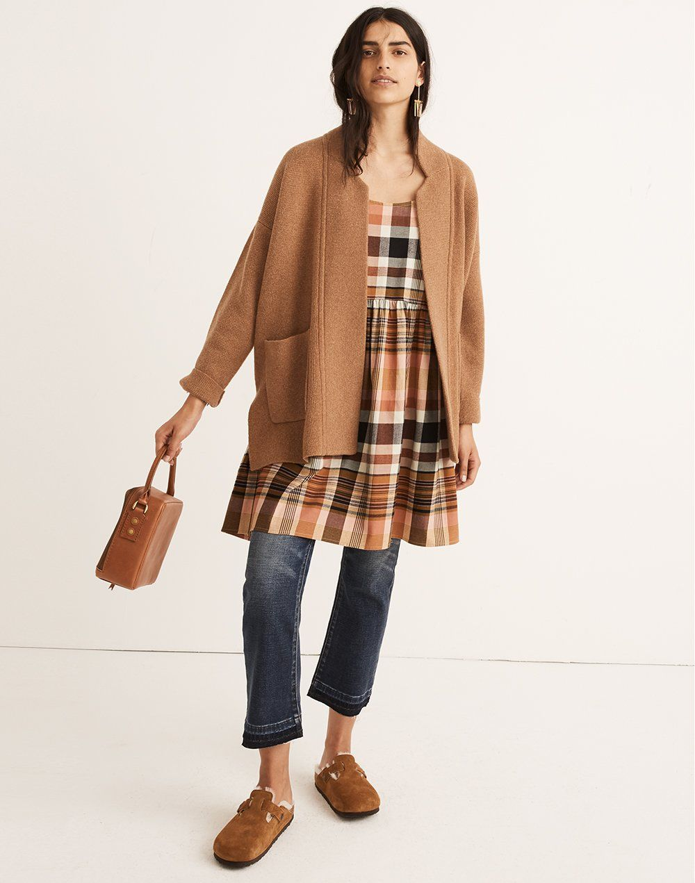 2f319aeb6fe294 madewell spencer sweater-coat worn with plaid babydoll cami dress, cali  demi-boot jeans, the square satchel bag + birkenstock suede boston clogs.