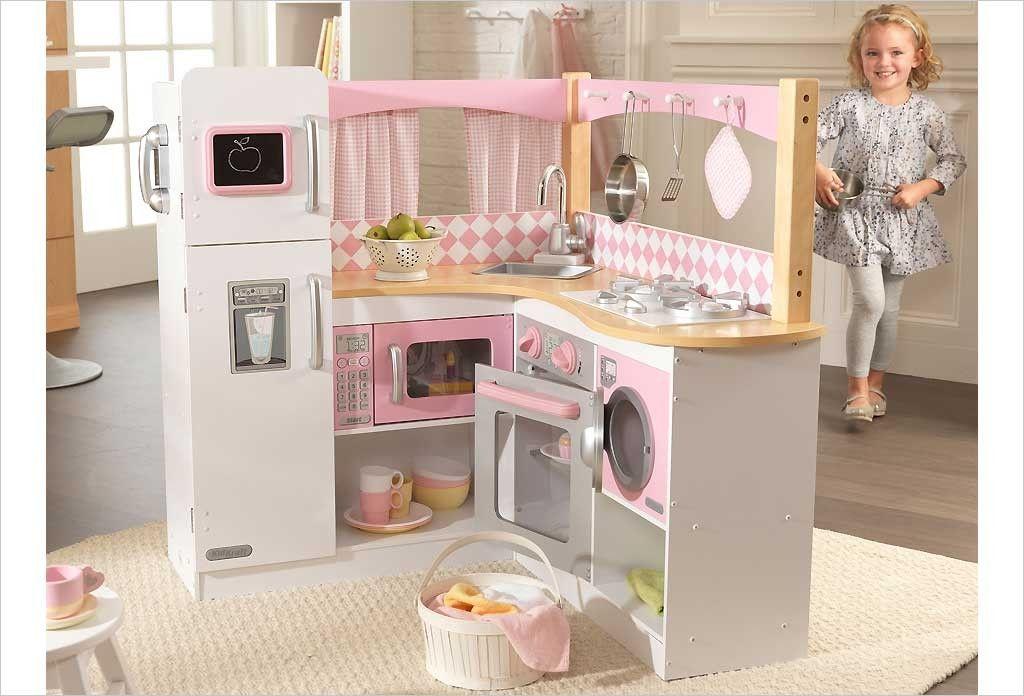 Cuisine d 39 angle en bois jouet cuisine kidkraft rose et blanche rooms for girls pinterest - Cuisine kidkraft blanche ...