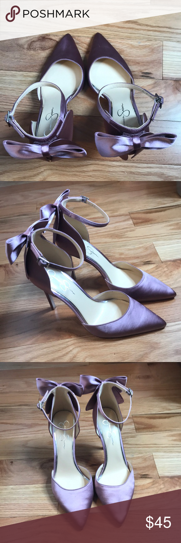 "0888863fa76 ... pumps with cute bow detail on the heel. Adjustable ankle strap and  satin upper. 4in heel stiletto and color is called ""light pink"" but looks  like mauve."