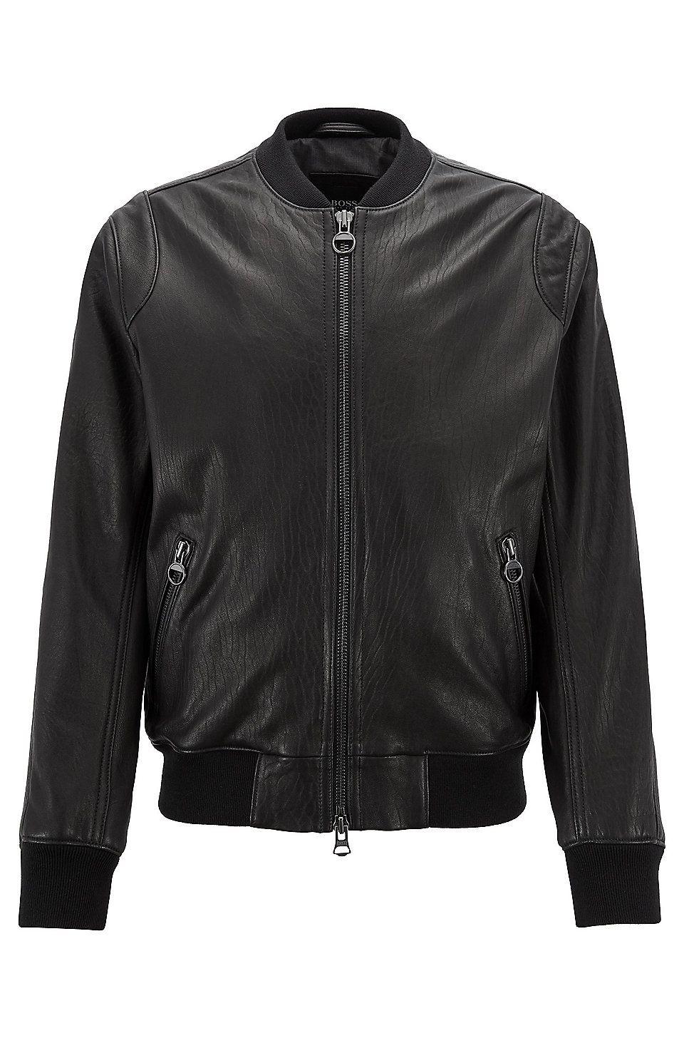 Hugo Boss Slim Fit Bomber Jacket In New Zealand Lambskin Black Leather Jackets From Boss Leather Jacket Outfit Men Slim Fit Bomber Jacket Leather Sweatshirt [ 1456 x 960 Pixel ]